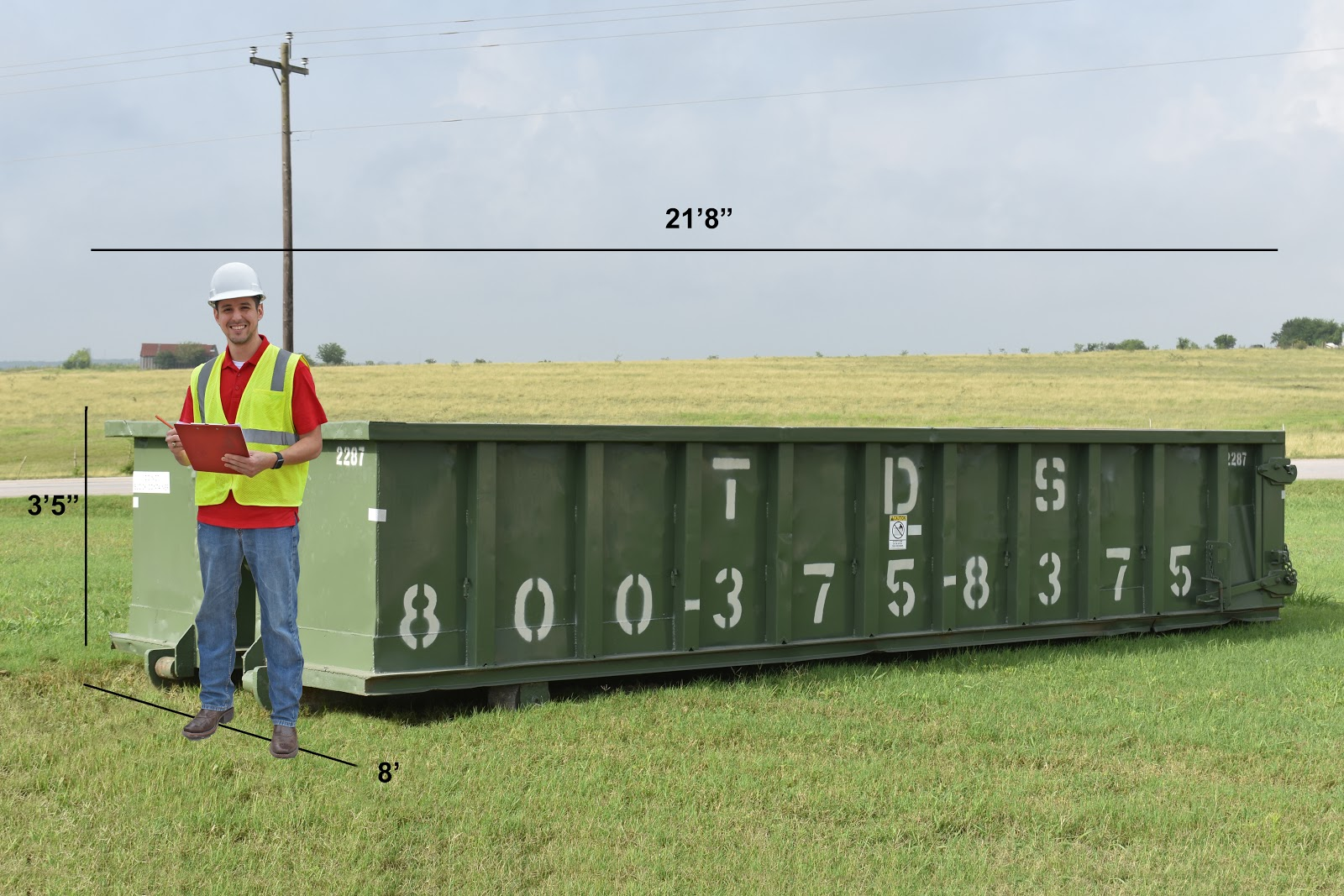 20-yard dumpster rental dimensions